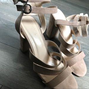 Charlotte Russe Light Pink Block Heels Sandals- 10